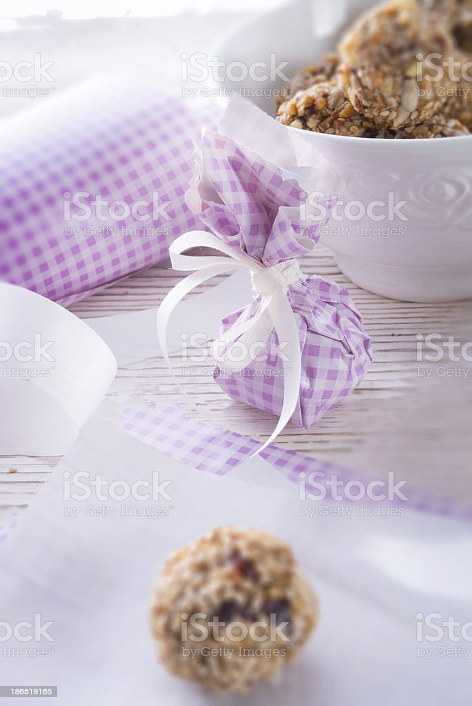 home made  nibble  muesli   small ball royalty-free stock photo