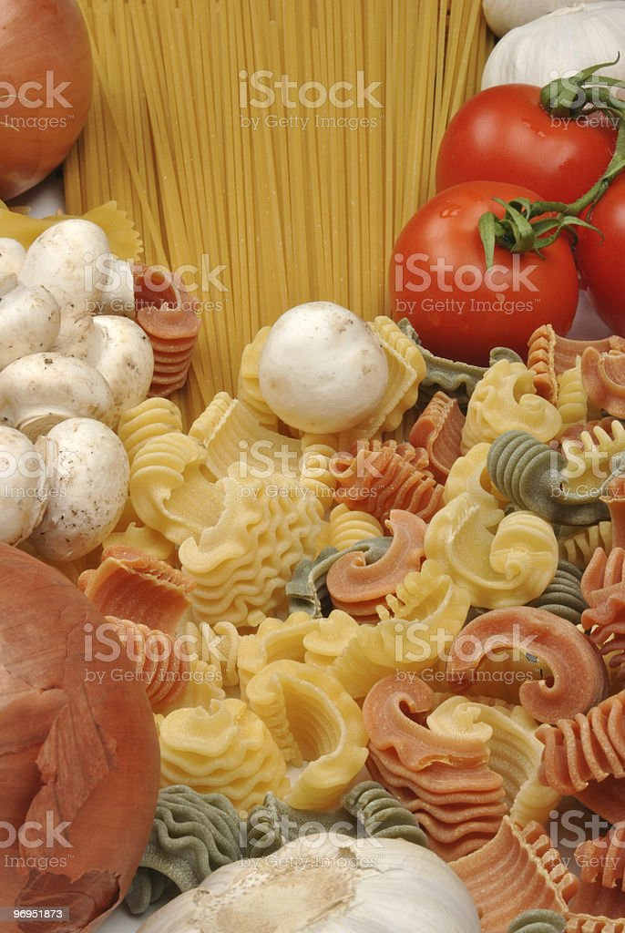 home made noodle and organic chestnut mushroom royalty-free stock photo