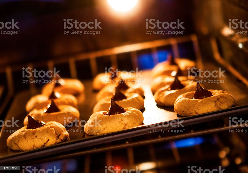Home Made Peanut Butter Cookies In The Oven royalty-free stock photo