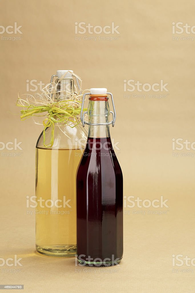 Home made red and white wines in a classic bottles royalty-free stock photo