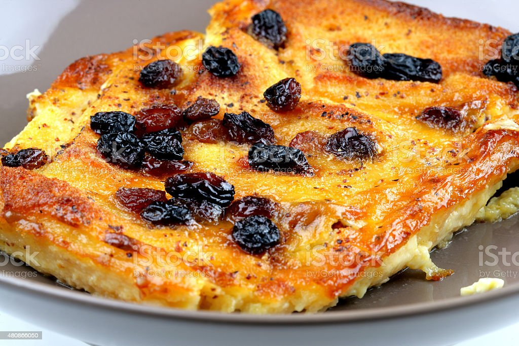 Home Made Slice of Delicious Bread and Butter Pudding Dessert stock photo
