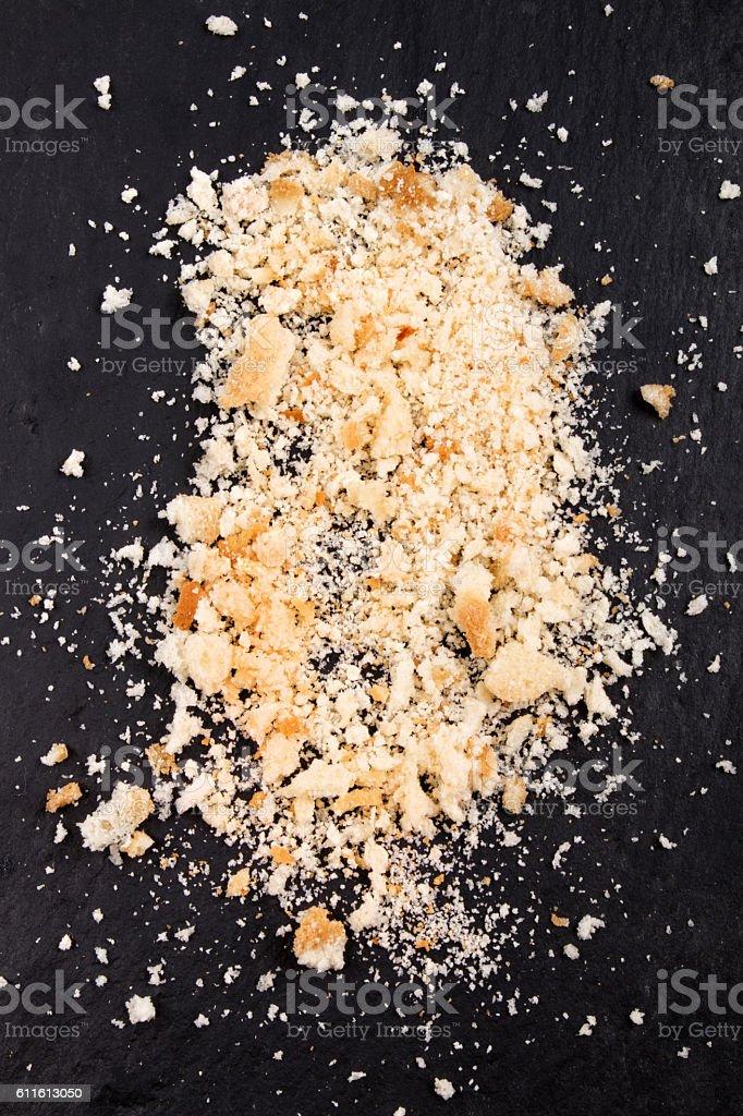 home made, slightly moist bread crumbs stock photo