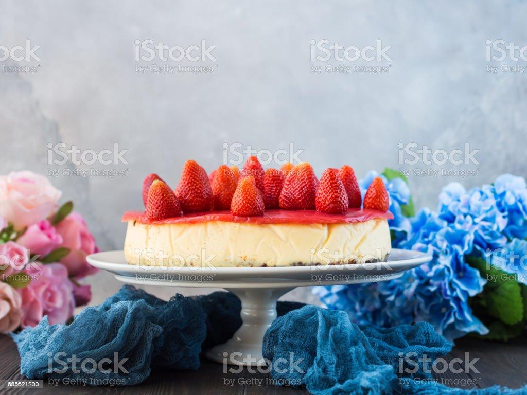 自製草莓芝士蛋糕 免版稅 stock photo