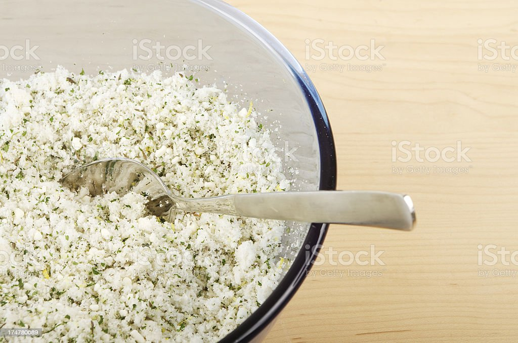 Home Made Thyme And Parsley Stuffing Mix In Bowl royalty-free stock photo