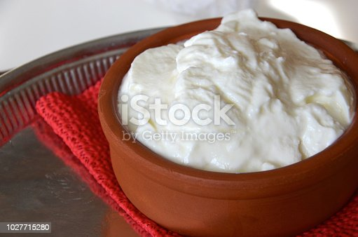 istock Home made yogurt in clay pot 1027715280