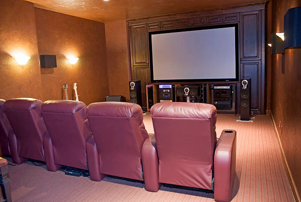 home media room large screen projection television screen with seating man cave couch stock pictures, royalty-free photos & images