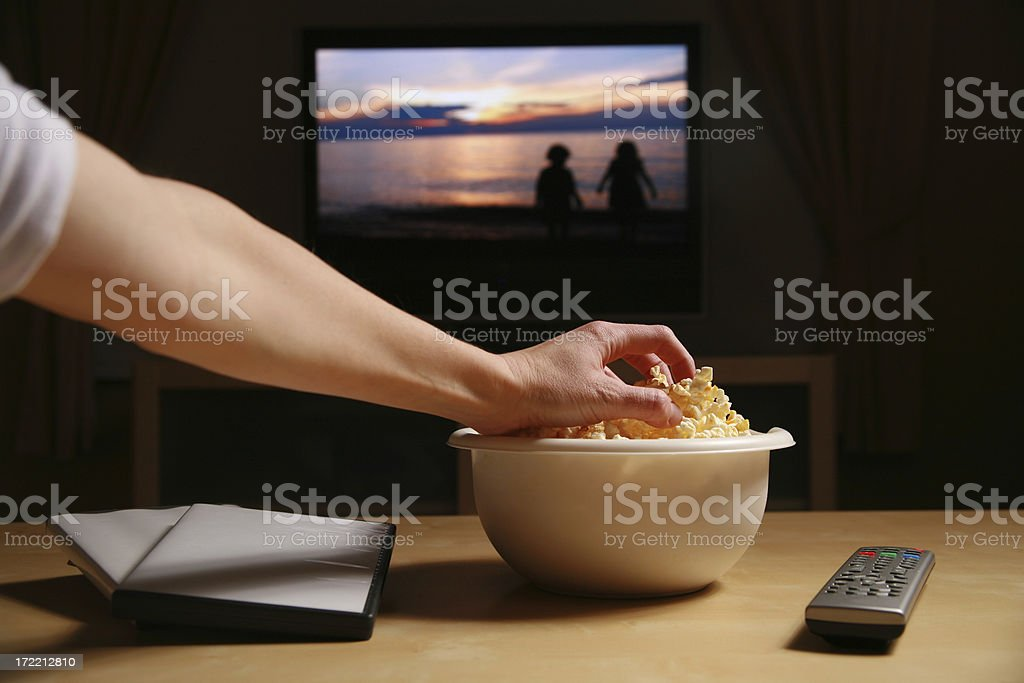 Home Movies and Popcorn stock photo