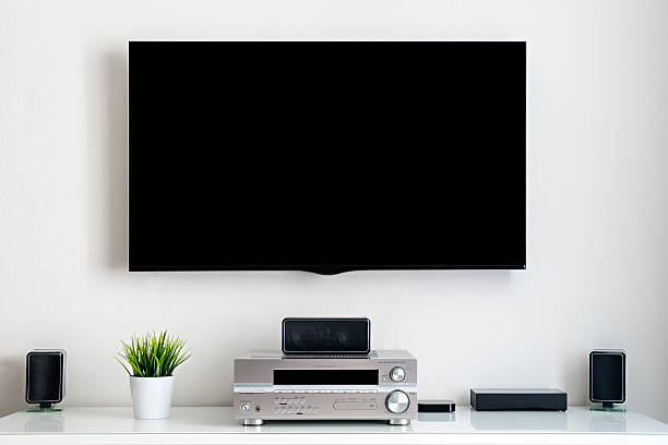 home multimedia center - flat screen stock photos and pictures