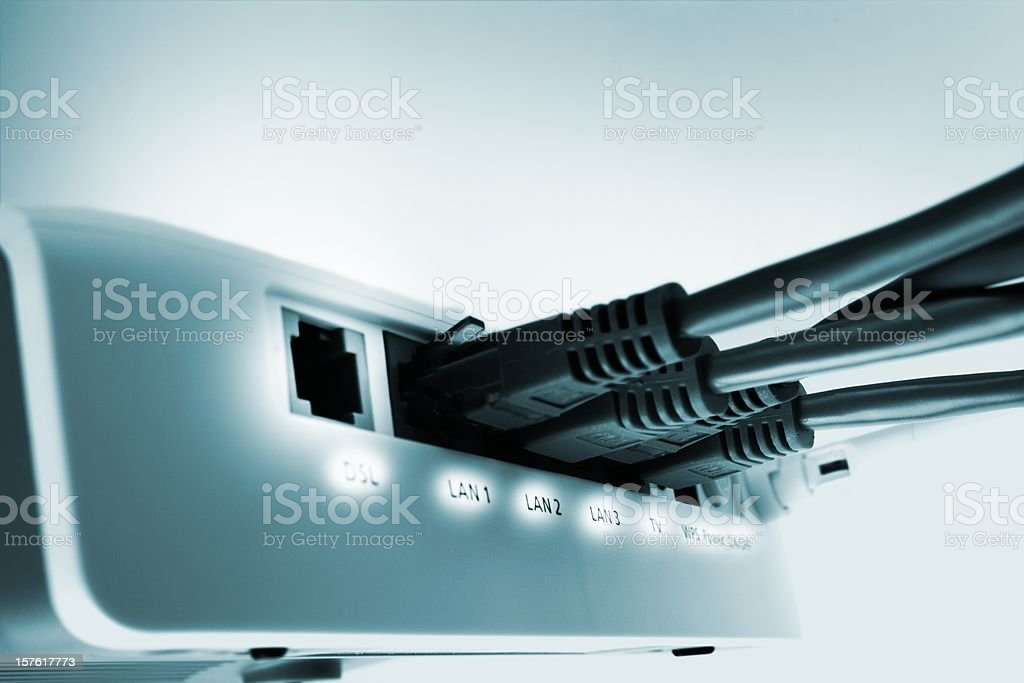 home network switch with free DSL port stock photo