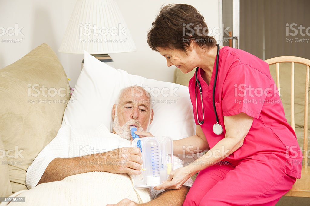 Home Nursing - Breathing Exercise stock photo
