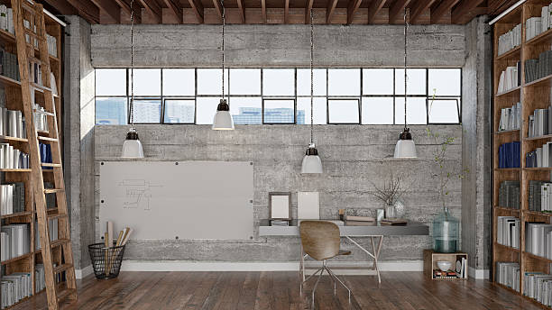 home office and libary - industrial modern stock photos and pictures