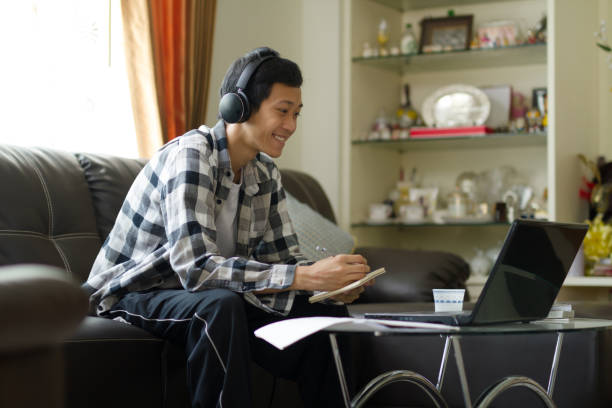 Home office and studying of online class stock photo
