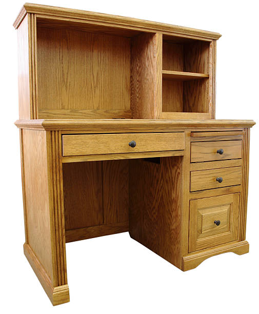 Home Office Computer Desk and Hutch stock photo