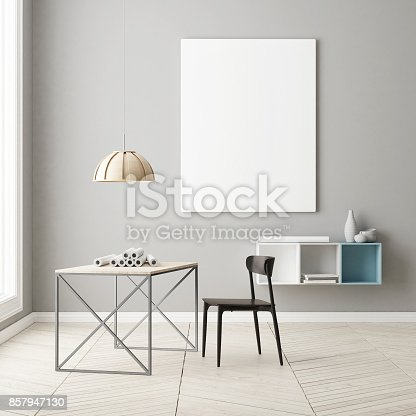 923497490 istock photo home office concept with mock up poster 857947130