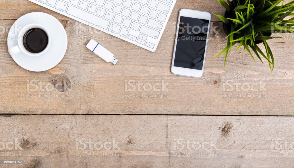 home office desk website header stock photo