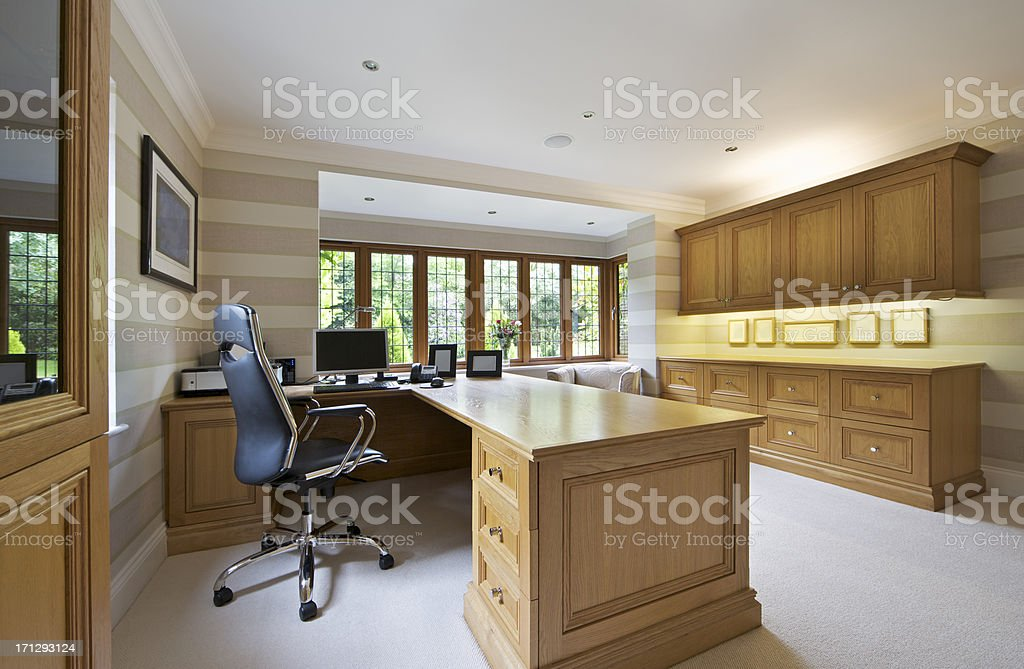 home office in light oak royalty-free stock photo