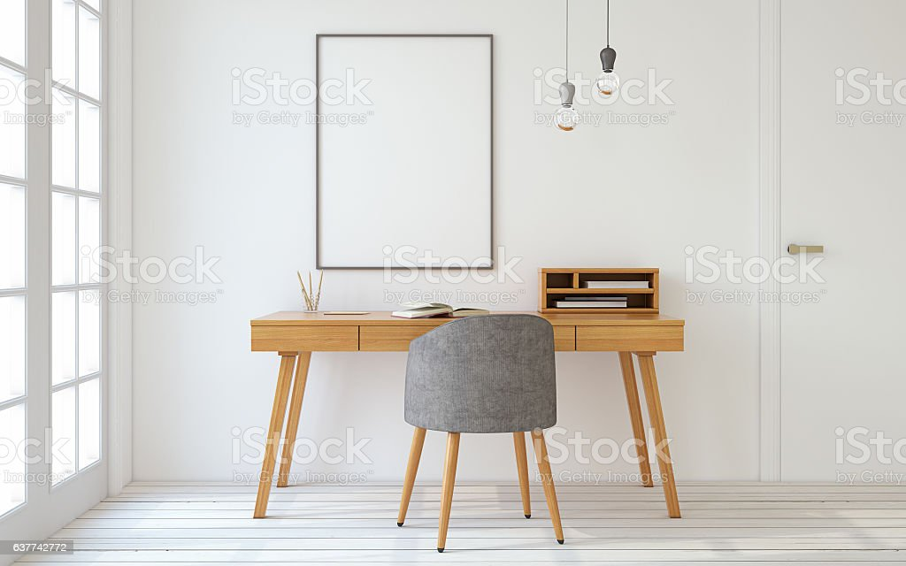 Home office interior. 3d render. stock photo