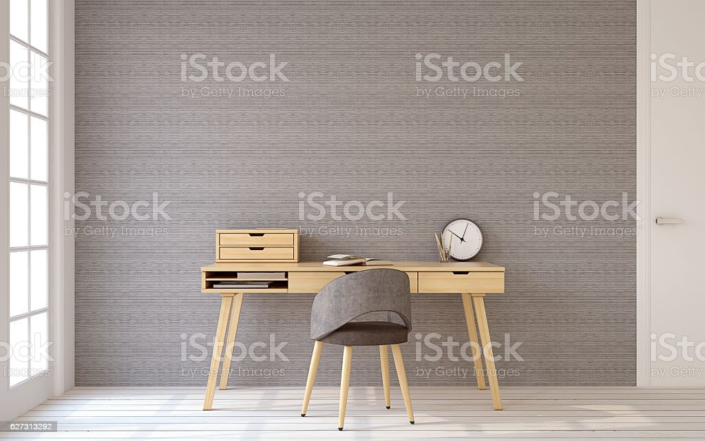 Home office interior. 3d rendering. stock photo