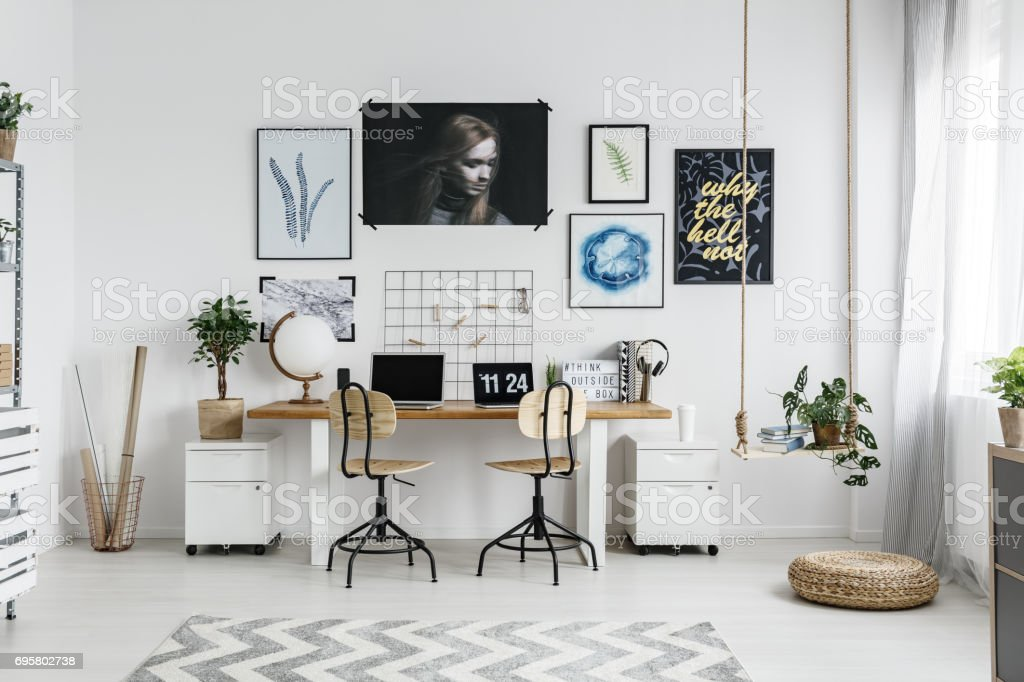 Home office interior stock photo