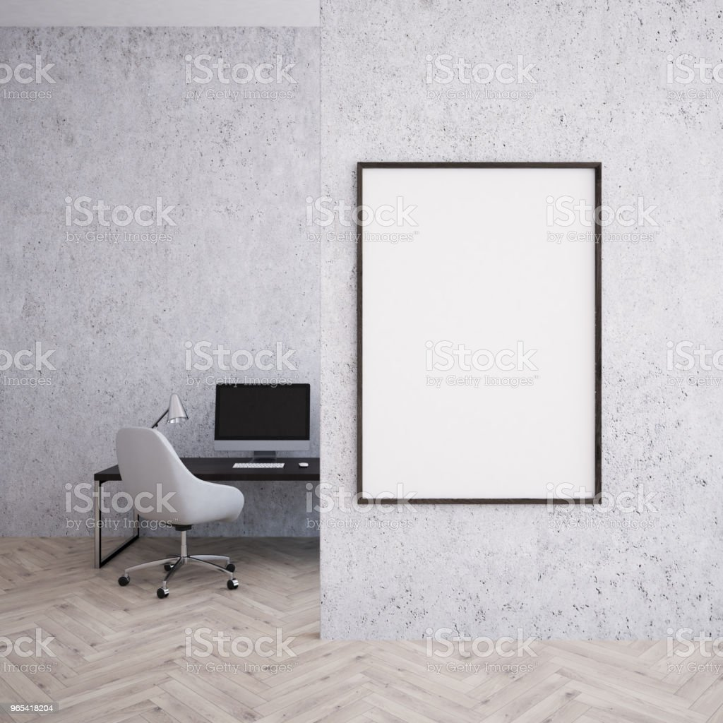 Home office interior, vertical poster royalty-free stock photo