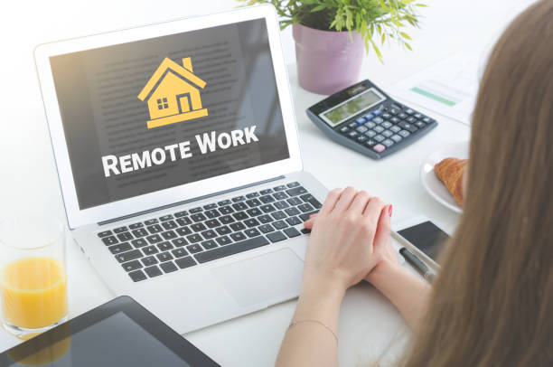 Home office or remotely working concept stock photo