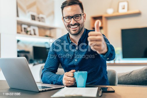 Young businessman working at home using lap top