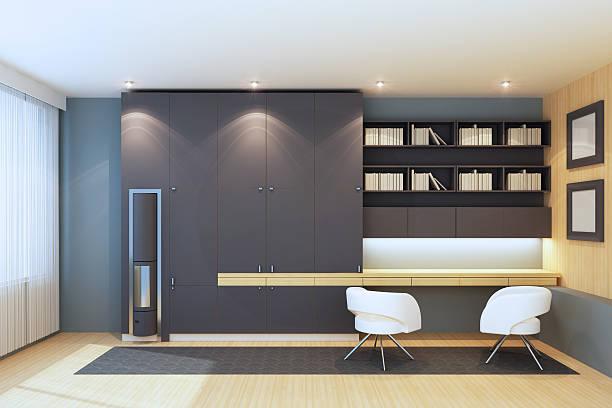 home office - arbeitszimmer möbel stock-fotos und bilder
