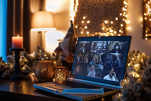 Home Office Set Up for Webinar and Teleconference at Xmas stock photo