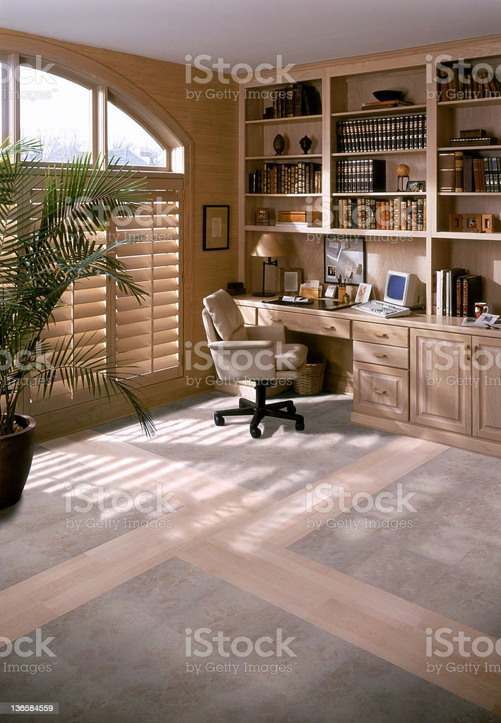 Home office space set in library room royalty-free stock photo