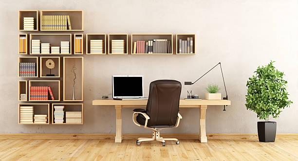home office with wooden furniture - arbeitszimmer möbel stock-fotos und bilder