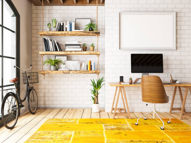 home office with workplace and bicycle - estudio imagens e fotografias de stock