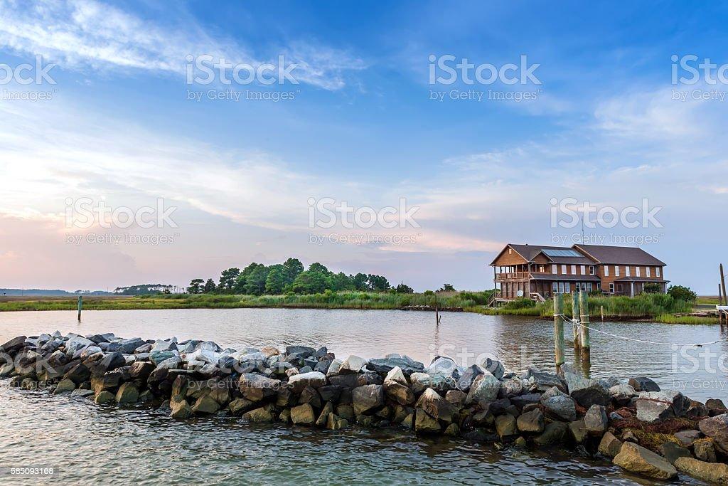 Home on the Chesapeake Bay near sunset stock photo