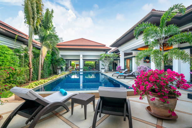 home or house building  Exterior  and interior design showing tropical pool villa with green garden, with sun bed and blue sky home or house building  Exterior  and interior design showing tropical pool villa with green garden, with sun bed and blue sky backyard pool stock pictures, royalty-free photos & images