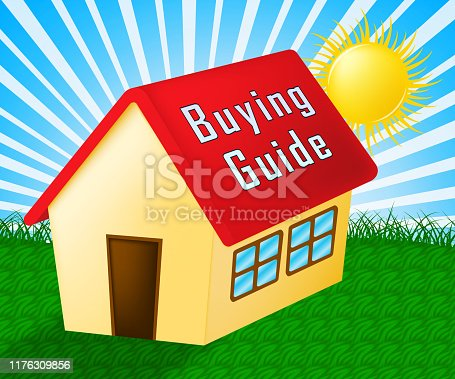 915688450 istock photo Home Or House Buying Guide Symbol Means Real Estate Guidebook - 3d Illustration 1176309856
