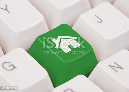 Green computer key with home icon