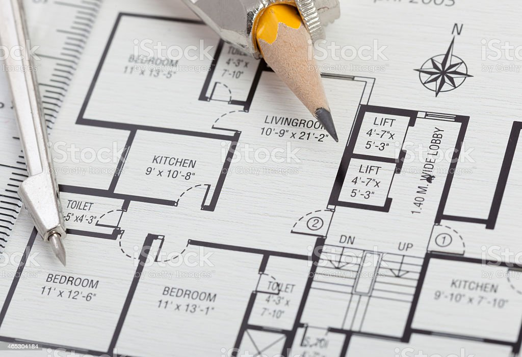 Home plan drawing stock photo