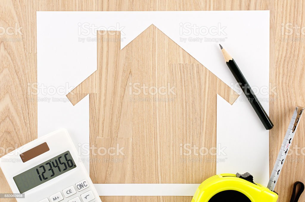 Home planning. Calculating and measuring. stock photo