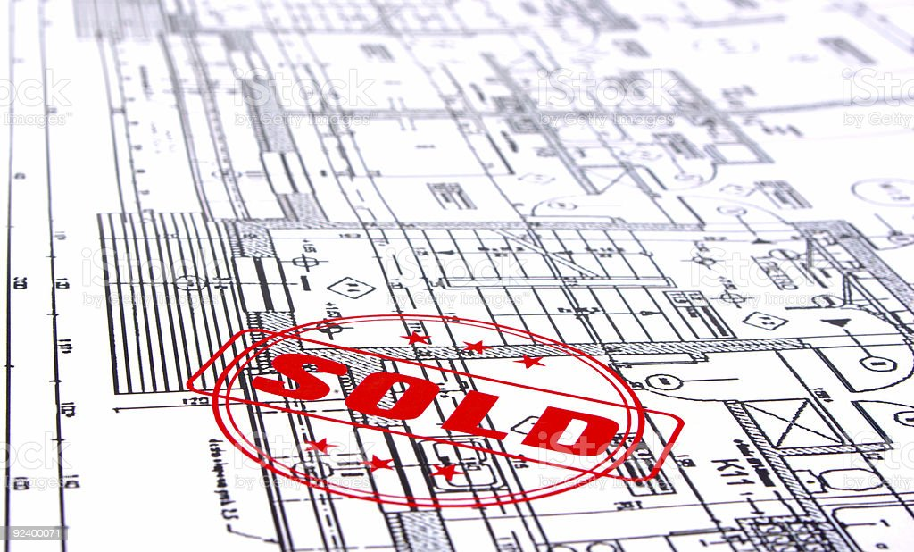 home plans with SOLD stamp royalty-free stock photo