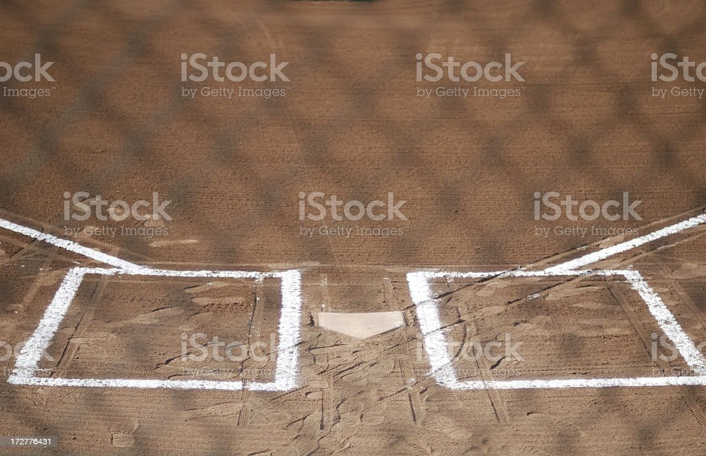 Home plat through the fence royalty-free stock photo