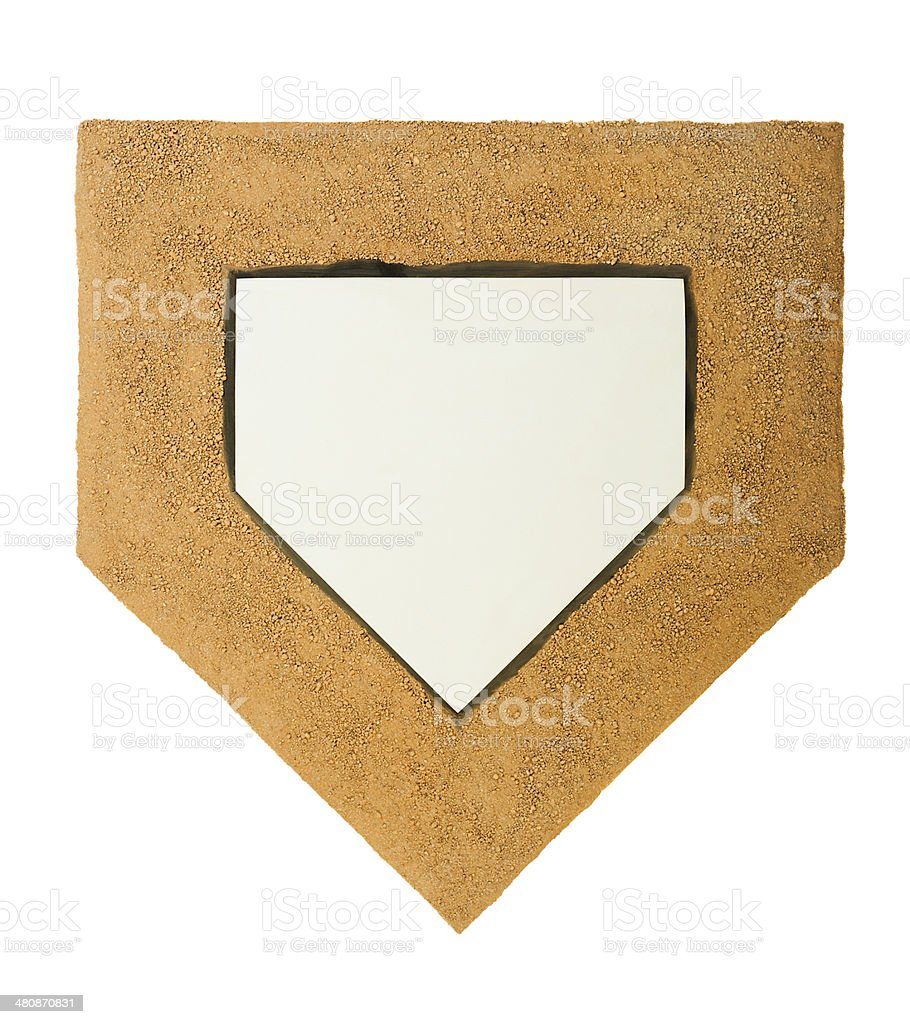 Home Plate and dirt on white background stock photo