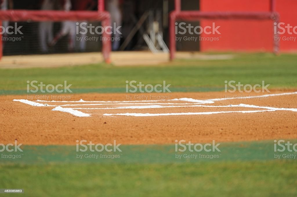 Home plate infield by dugout royalty-free stock photo