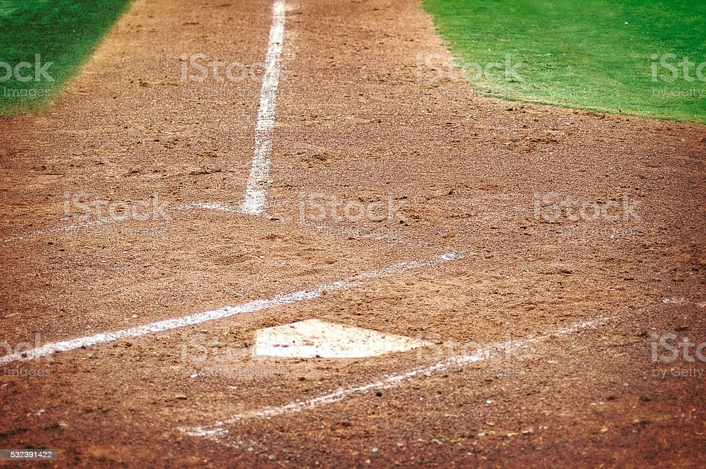 Home Plate On Grass And Dirt Baseball Playing Field stock photo