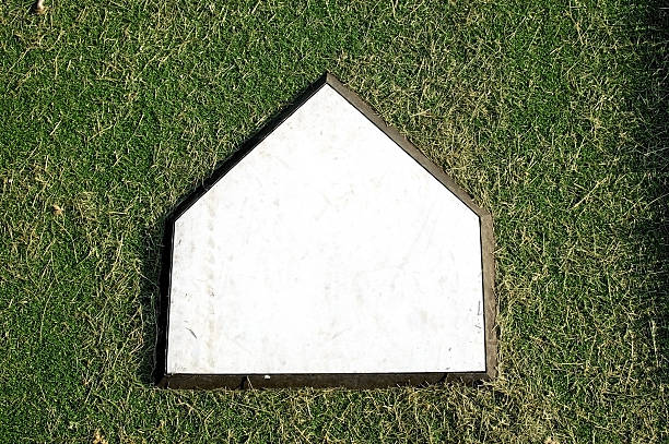 Home Plate on Grass Clean stock photo