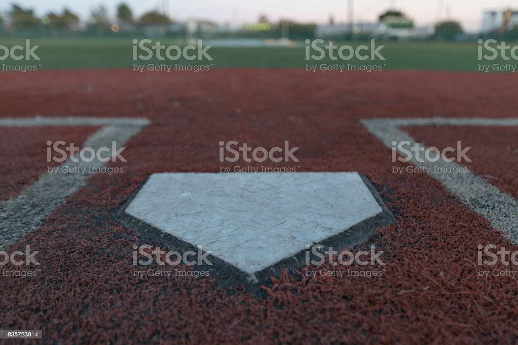Home Plate Turf Field stock photo
