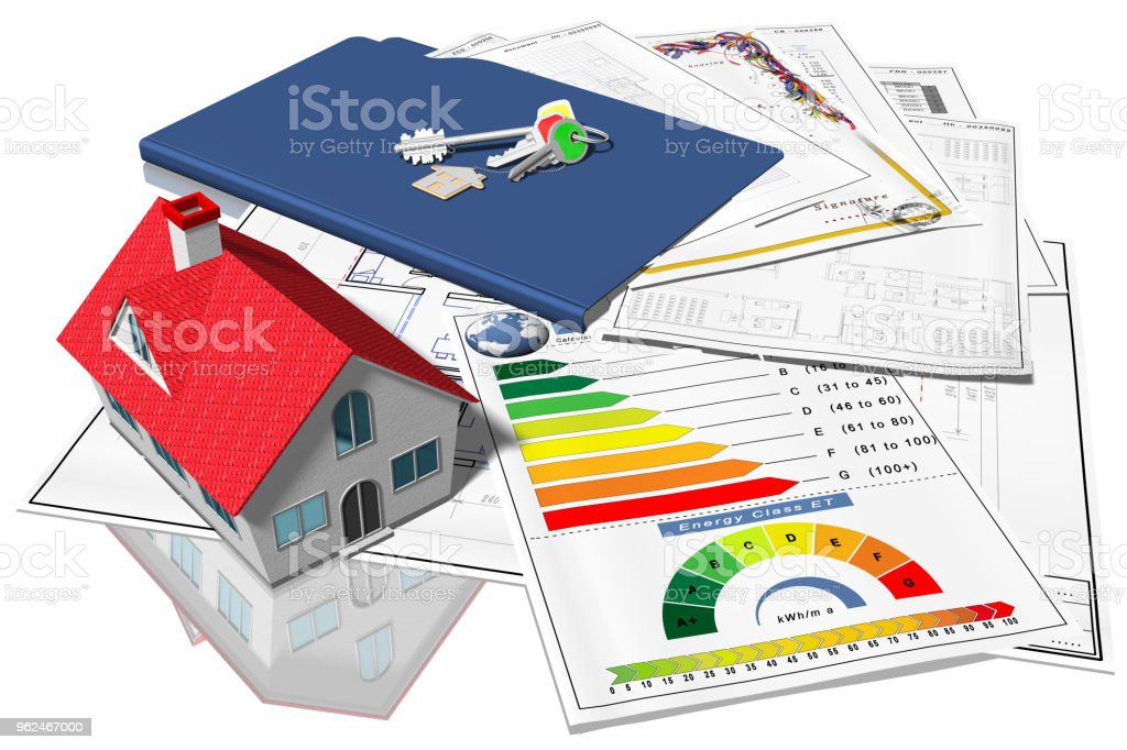 Home purchase, sale. Property. Energy certificate. - 3D illustration stock photo