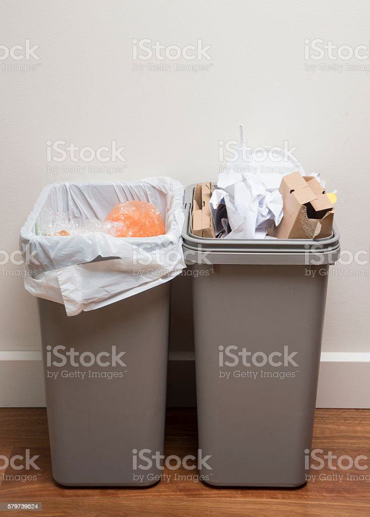 Home recycling bins stock photo