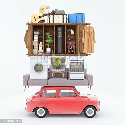 istock Home removal and transportation, Overloaded concept 3d render 1076082602