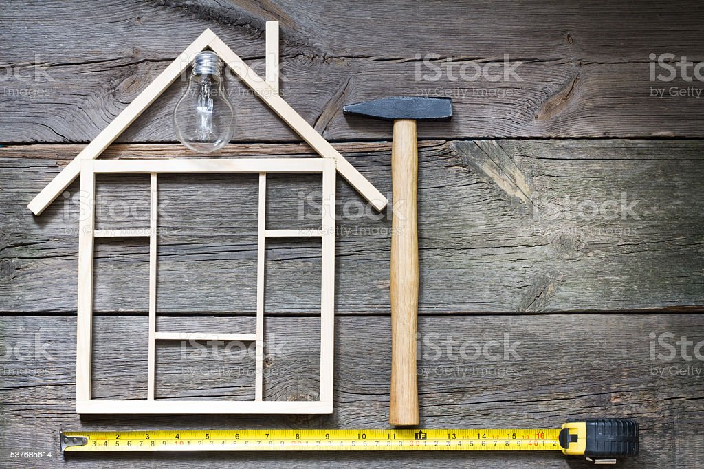 Home renovation construction abstract background with tools stock photo