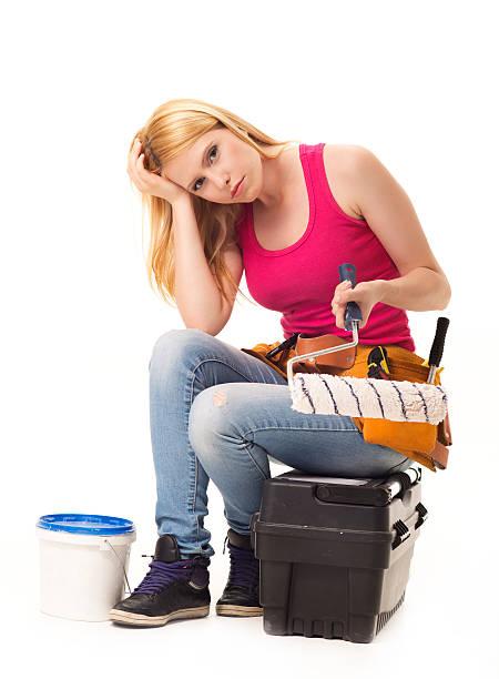 home renovierung frustration - bemalte tontöpfe stock-fotos und bilder
