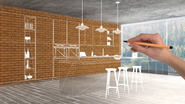 Home renovation, house development concept background, interior design under construction with hand drawing custom architecture, white sketch, blueprint showing modern kitchen stock photo
